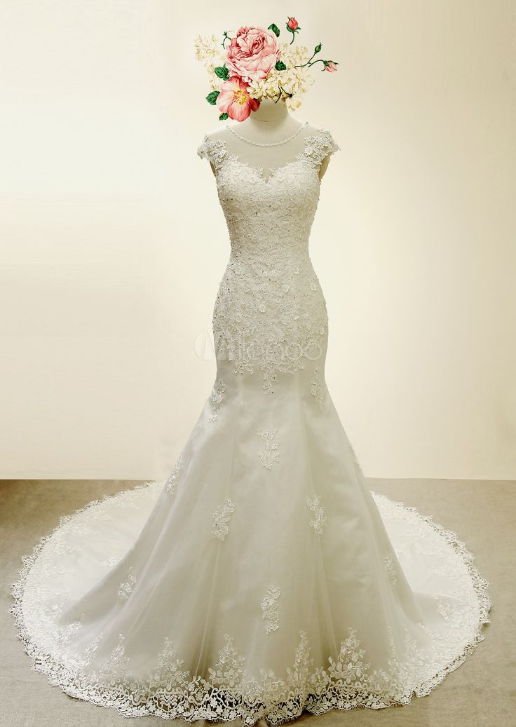 Marfim casamento vestido sereia Applique frisado tule vestido de noiva - Milanoo.com