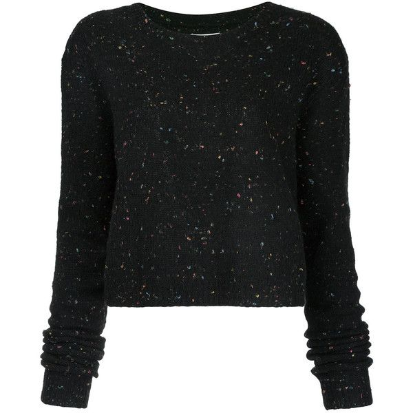 Public School speckled cropped sweater ($495) ❤ liked on Polyvore featuring tops, sweaters, black, cropped sweaters, crop top and cut-out crop tops