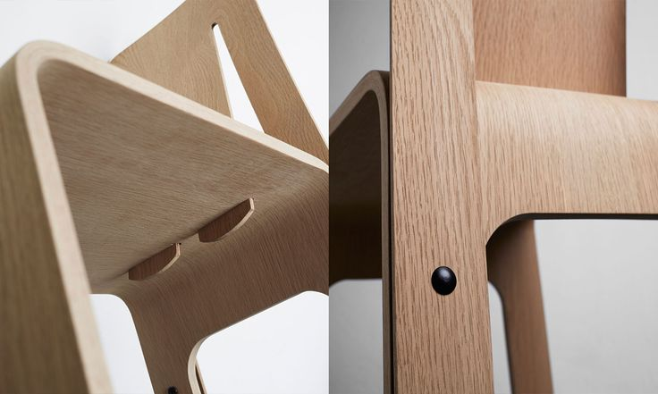 Humble Chair detail - studio FEM. Split plywood, flexible backrest
