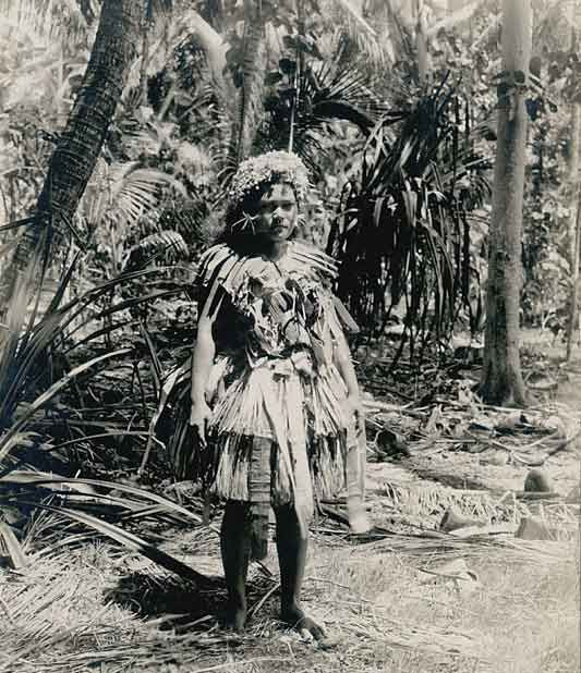 Woman On Funafuti, Tuvalu, Photograph by Harry Clifford Fassett, 1st January, 1900. Depicts traditional ceremonial clothing worn on the tiny atoll of Funafuti, a remote island which had a population of less than 300 people in 1900, and a lifestyle little changed from prehistoric times.