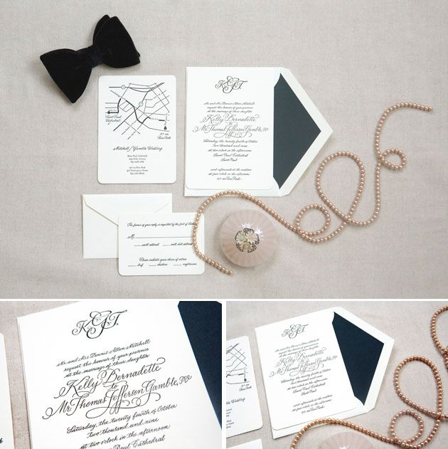 Black Tie Wedding Invitations By Lilly Louise Photo Beaux Arts Styling Sbchic