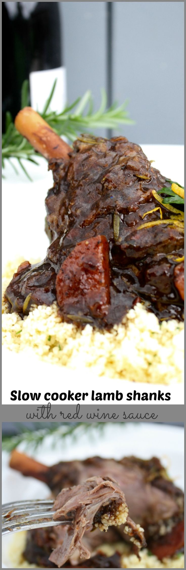 Slow cooker lamb shanks with red wine, balsamic and rosemary sauce - the ultimate winter warmer meal.