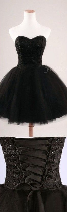 Black Homecoming Dress,Tulle Homecoming Dresses,Satin Homecoming Gowns,Lace Party Dress,Short Prom Gown,Sweet 16 Dress,Corset Homecoming Dresses,Vintage Evening Dress Fitted Gowns