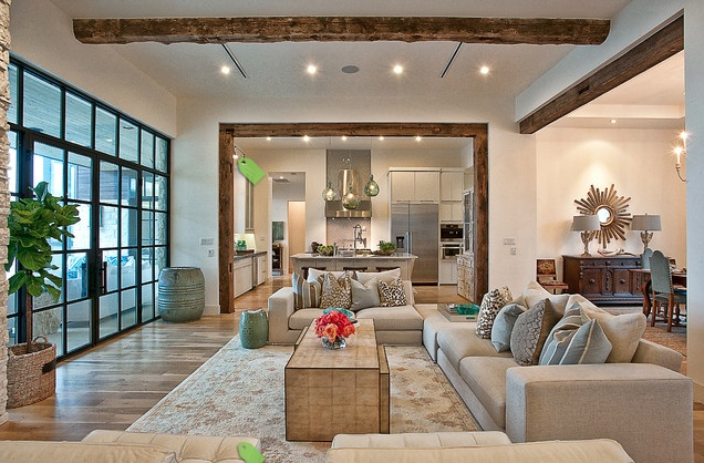 Neutral Living Room - Open Floor Plan - Natural - Rustic - Modern - White Gray