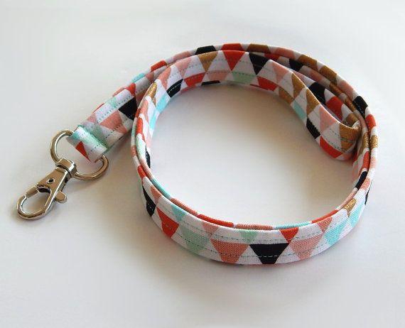 Tribal Lanyard / Triangle Print / Boho Keychain / Bohemian / Turquoise / Gold / Key Lanyard / Coral / ID Badge Holder / Fabric Lanyard  Pretty boho