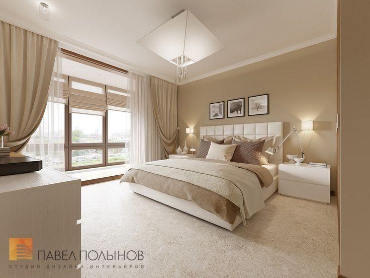 Интерьер спальни в теплых тонах в квартире в ЖК Царская Столица