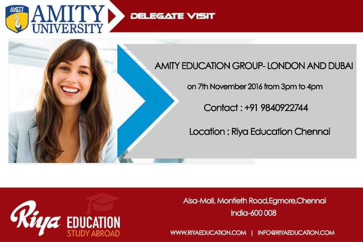 Amity Delegate Visit at Riya Education Chennai. Come and meet the delegate to get first hand information. Visit our website