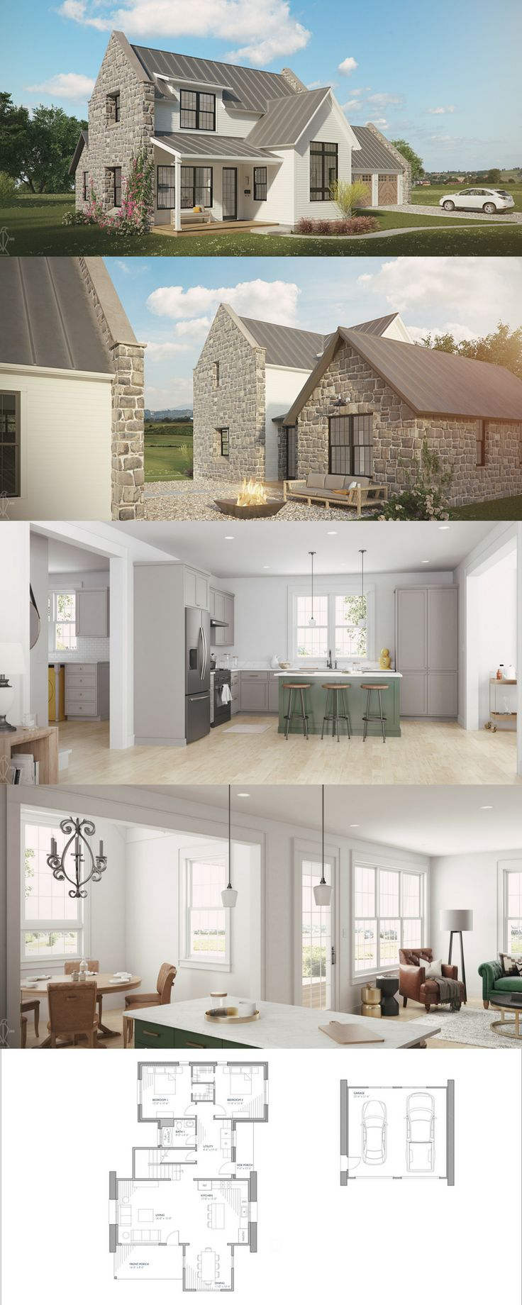 The Brune! Our smallest european farmhouse plan, but still plenty of open living space with 1968 square feet! floor plans and house plans for sale!