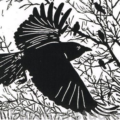 Dawn Flight - Black Crows - Original Hand Pulled Linocut Print £28.00