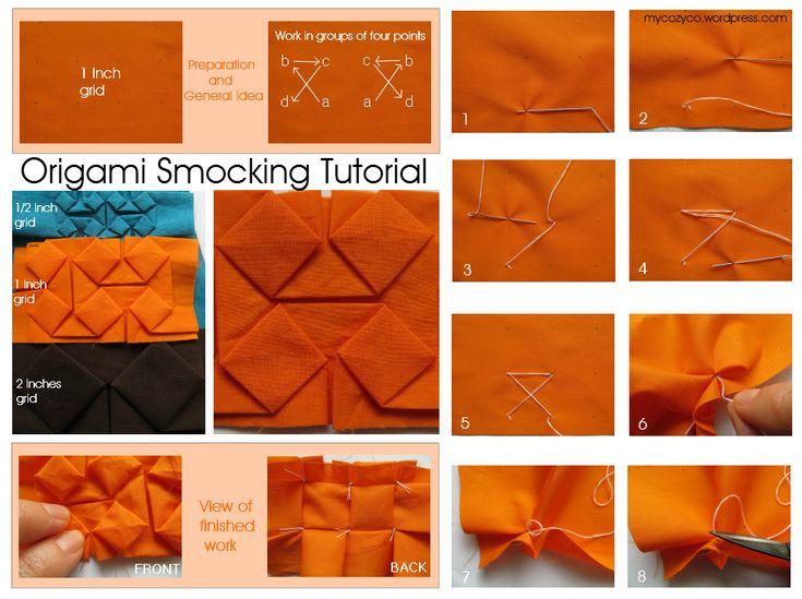 Origami Smocking Tutorial                                                                                                                                                      Más