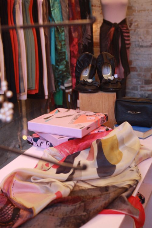 Scarves, ballet flats, dresses, and jewellery.  At Jessica Rose in Toronto.