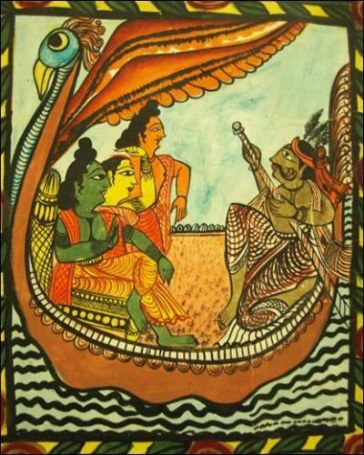 Moyna Chitrakar, Art Patachitra du Bengale, Inde. Détail d'un rouleau