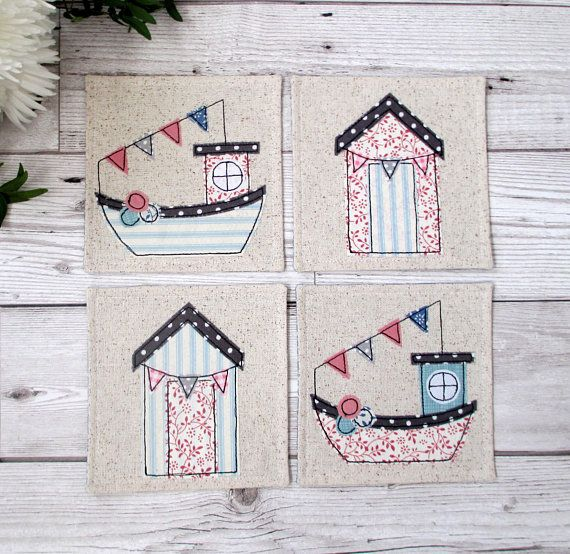 Nautical Coaster Set, Seaside Decor, Beach Hut Coaster, Fishing Boat Coaster, Housewarming Gift, Fabric Coaster Set, Kitchen Decor, Mug Mats #nautical #coasters #etsyfinds