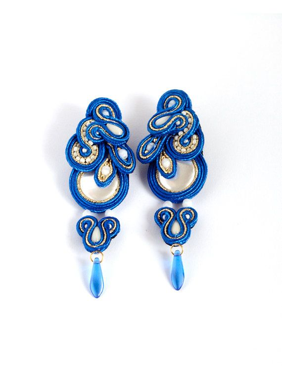Blue and white earrings.