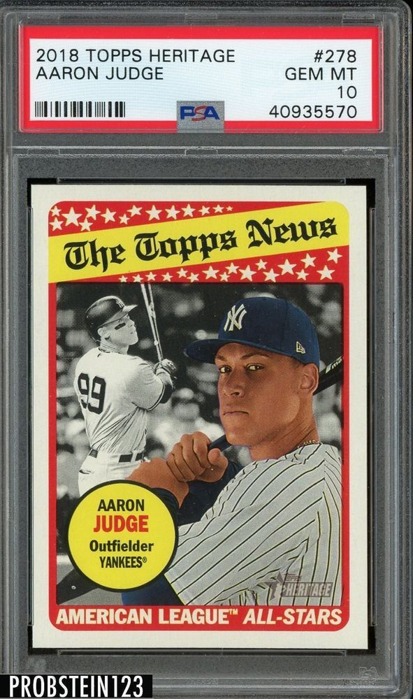 2018 Topps Heritage Aaron Judge New York Yankees Psa 10 Gem