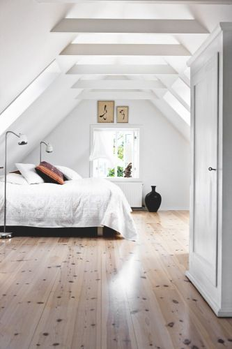 Andrea + Dan - OUR DREAM ROOM! We love this look. The exposed beams are a real feature and by painting them, the room has a clean and modern feel. We're imaging our bedroom would be at the back of the house, with the raised gable end - and this pic captures the kind of feel we're after.