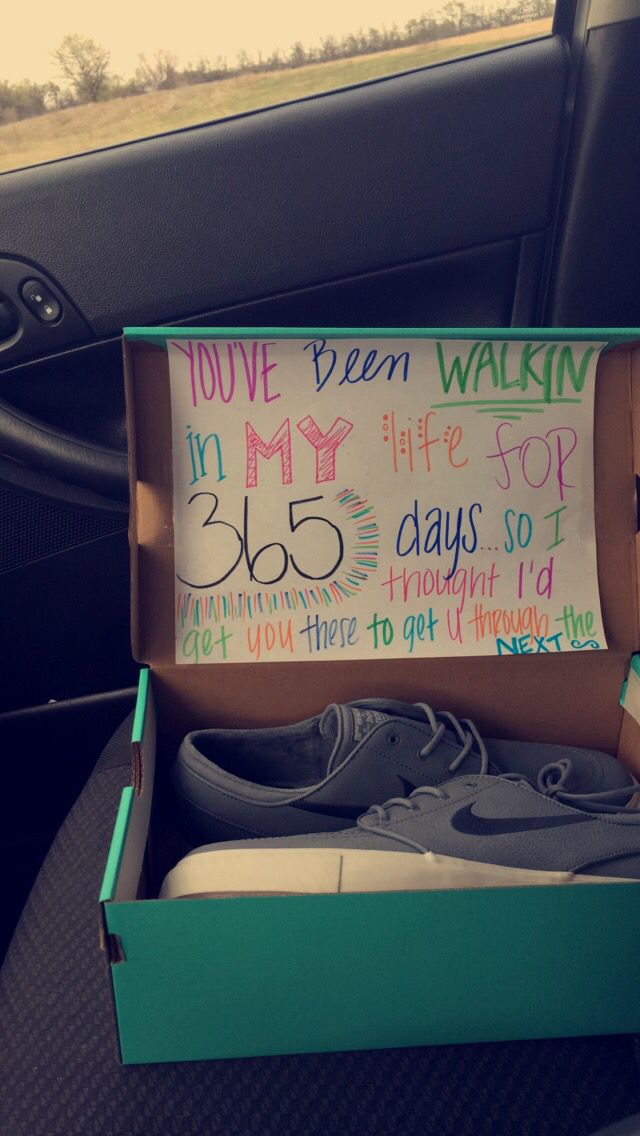 One year gift for a boyfriend. Nike Janoski. Cute Sign.