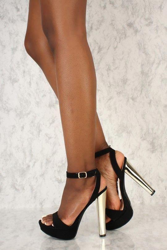 c92ec7f8d37f Sexy Black Open Toe Platform Metallic High Heels Nubuck  Hothighheels
