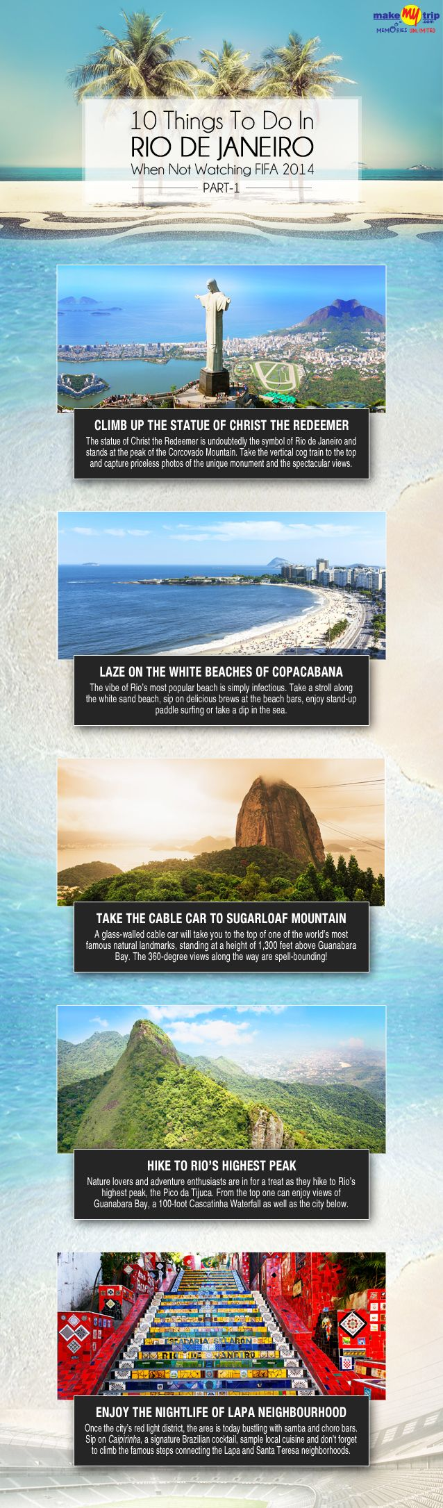 10 Things To Do In Rio de Janeiro, Brazil When Not Watching #FIFA 2014 #travel #infrographic