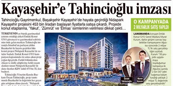 Tahincioğlu Gayrimenkul, Başakşehir Kayaşehir'de hayata geçirdiği Nidapark Kayaşehir projesini 453 b...