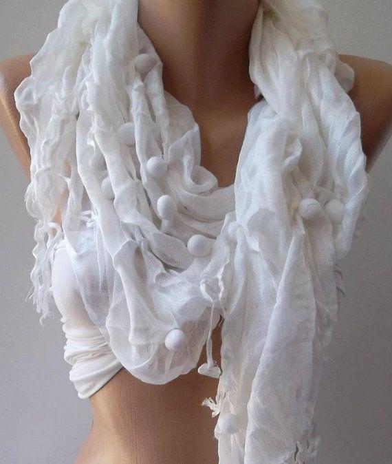 White Cotton Shawl by womann on Etsy, $14.90: White Elegant, Summer Scarves, White Scarves, Cotton Shawl, White Cotton, Scarfs Headbands, Elegant Cotton, My Style, Handmade White