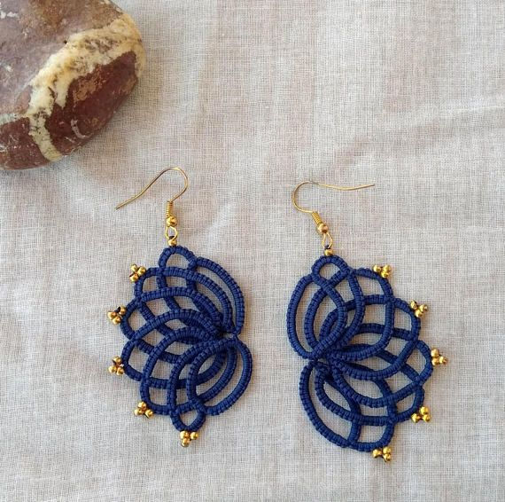 Navy blue tatted lace earrings  tatting lace  statement