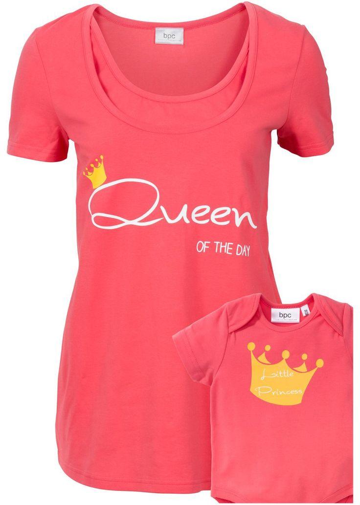 Shirt ciążowy i do karmienia + body niemowlęce (komplet z bawełny organicznej) • 82.99 zł • bonprix