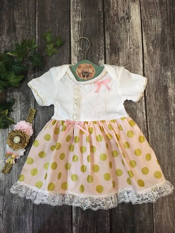 Pink Gold Baby Girl Outfits, Baby Victorian Dress, Tea Party Dress For Special Occasion, Baby Picture Outfit, Pretty Boho Baby Dresses Lace
