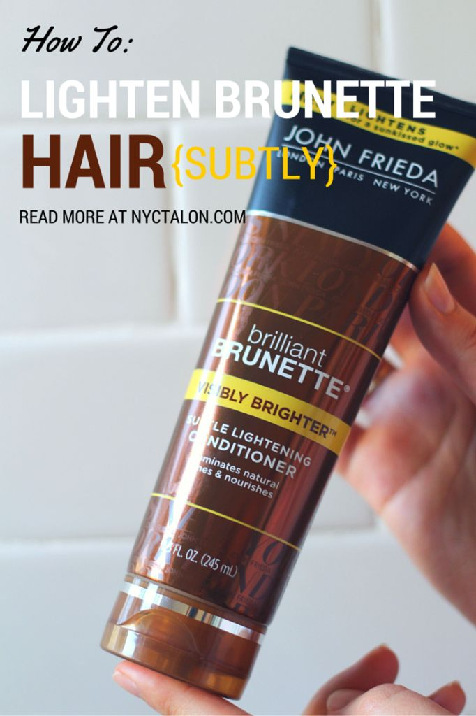 Brunette hair? Me too! John Frieda's Brilliant Brunette Visibly Brighter collection is one that really WORKS to lighten your hair (without weird orange brassiness)! Read more at nyctalon.com #RethinkColour #cbias #ad