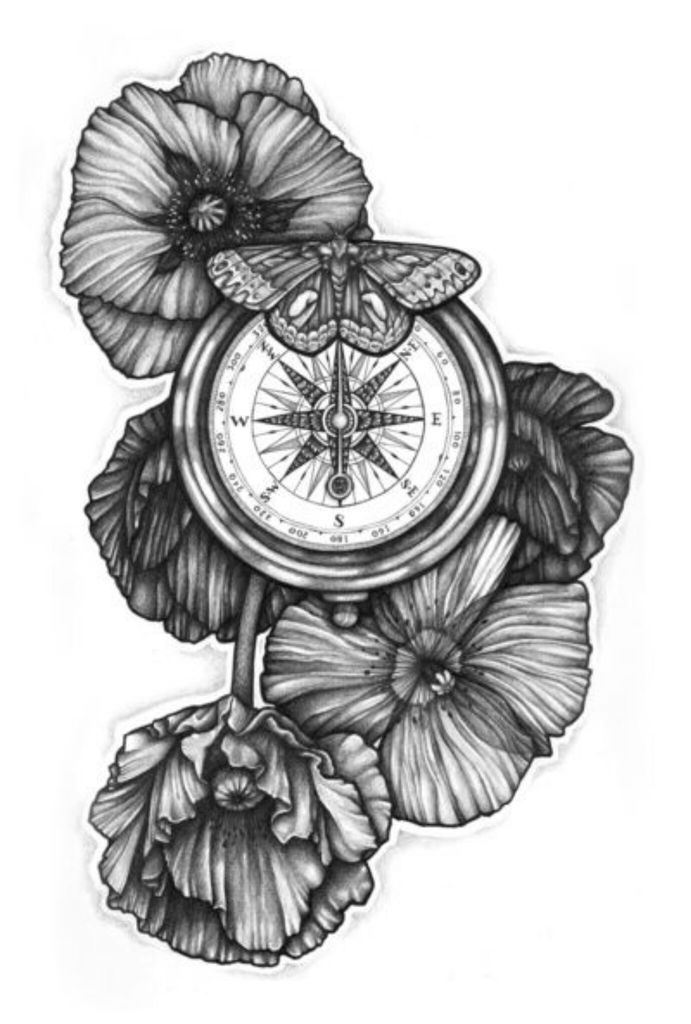 Black And White Poppy Flowers With Compass And Butterfly Tattoo Design By Fhobik