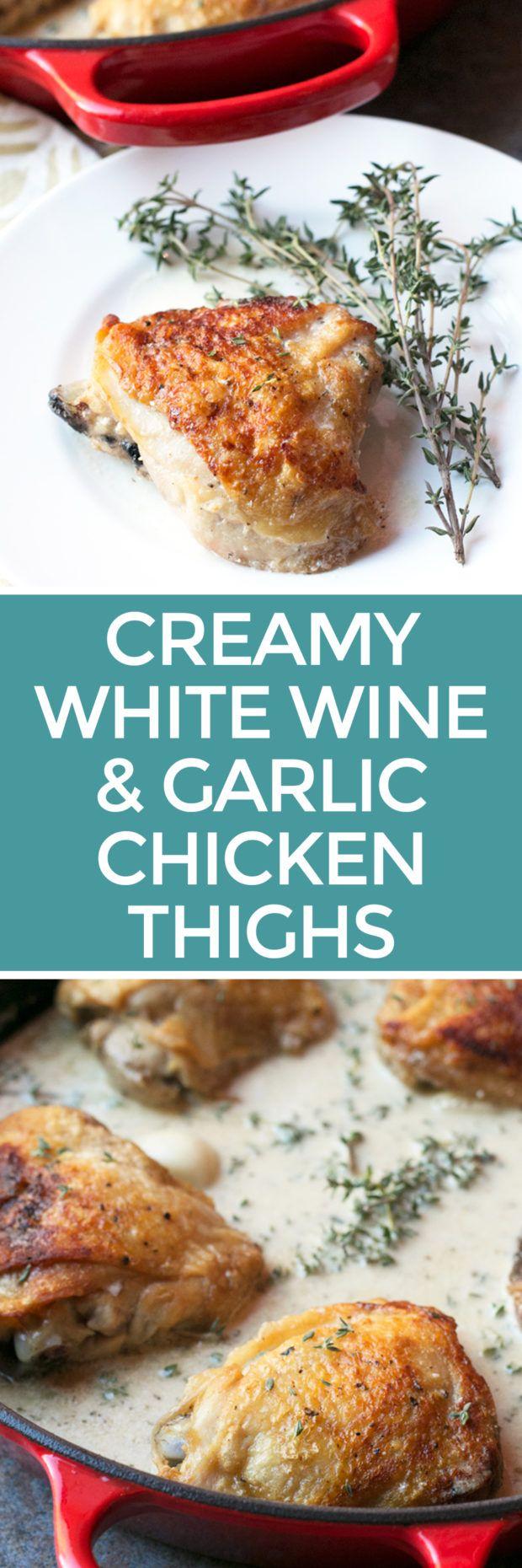 Creamy White Wine & Garlic Roasted Chicken Thighs – Cake 'n Knife