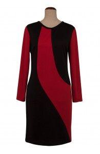 Rochie de zi negru cu rosu