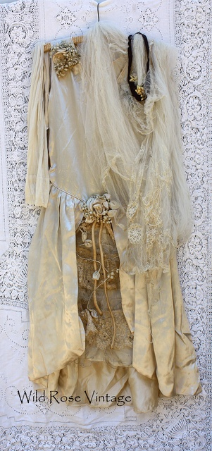 Wild Rose Vintage 1920's silk satin wedding dress and veil (veil has wax flowers)