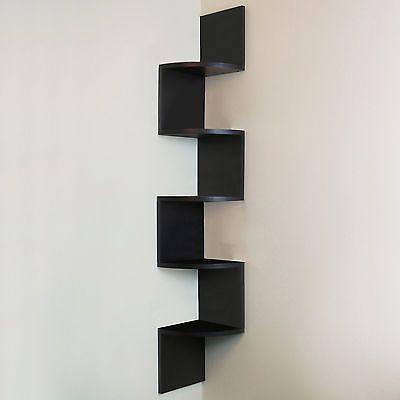 5 livello nero parete Zig-Zag MENSOLA AD ANGOLO/visualizzazione Mensole Legno Unità