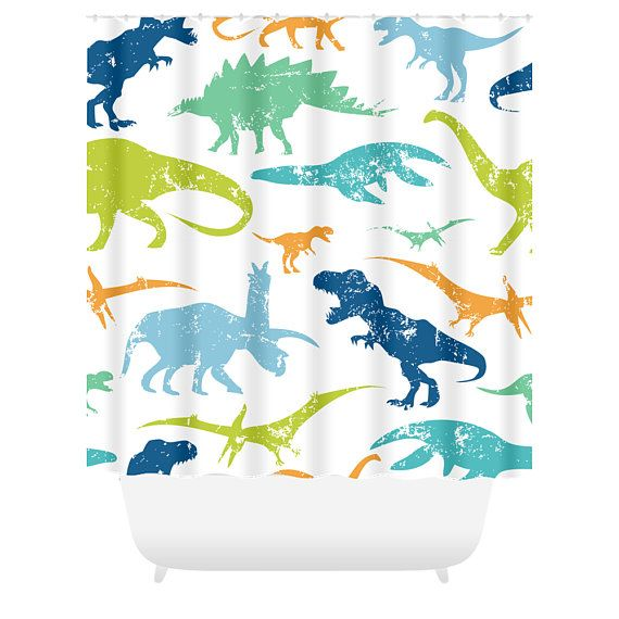 Dinosaur Shower Curtain Childrens Bathroom Long Curtains Hooks