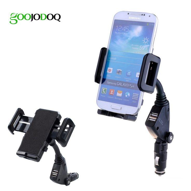 ユニバーサルカー携帯電話ホルダースタンドcigarretteライター2ポートusb充電器マウントのためのiphone 5 6 6s 7プラスsamsung s7エッジ