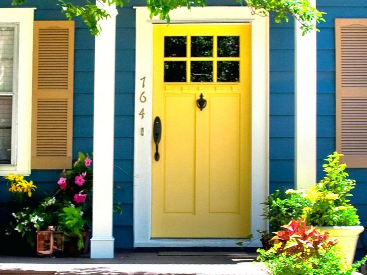 Cheerful Blue House Exterior Paint Idea With Yellow Door White Pillars And  Whitepainted Wood Entry Doors Part 86