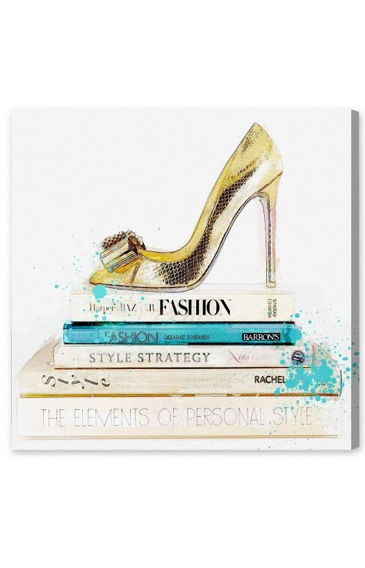 Oliver Gal - 'Gold Shoe & Fashion Books' Canvas Wall Art http://rstyle.me/n/bp9g2mrm5