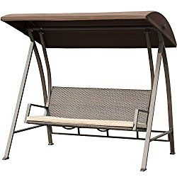 PatioPost Swing Chair Seats 3 Porch Patio PE Wicker Swings bench with Steel Powder Coated Frame, Dark Brown