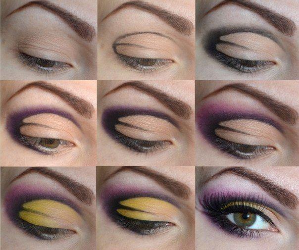 Step by step eye makeup. Purple-yellow art eye makeup