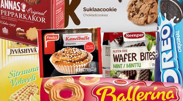 Vegaaniset makeat keksit, vohvelit, piparkakut, pullat, leivokset, korput ja rinkelit.