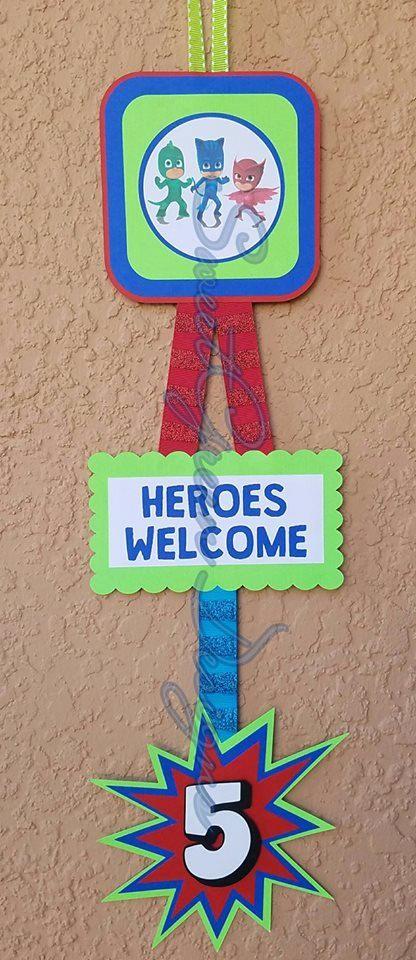 PJ Masks Birthday Party Door Sign Decoration   Pj mask, Pj ...