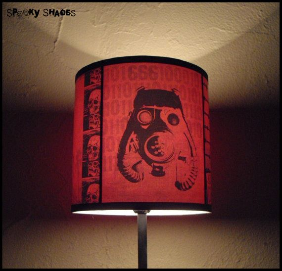 2012 AD red lamp shade lampshade  steampunk decor by SpookyShades, €45.00