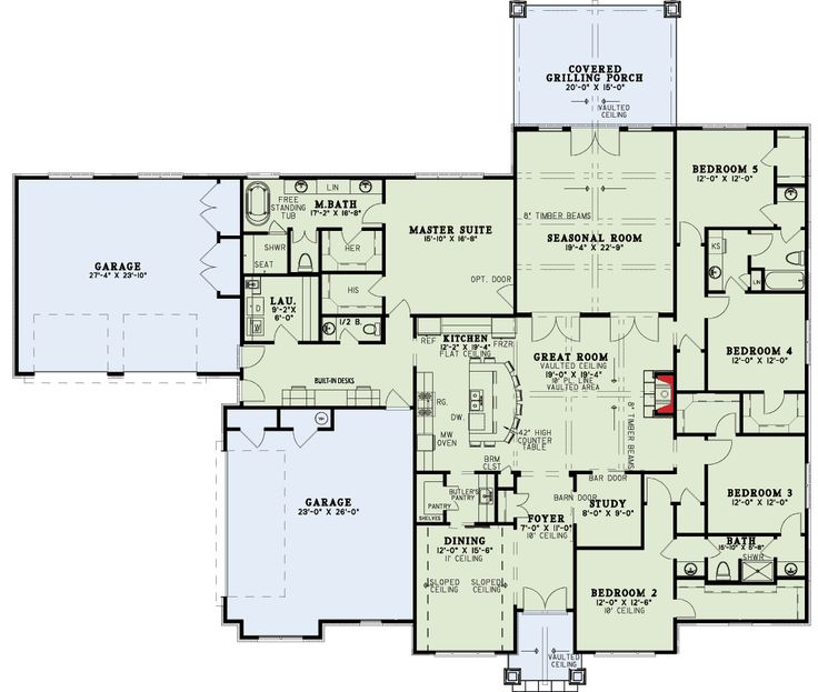 Spacious 5 Bed House Plan with Kitchen Island Seating Up to 10 - 60697ND   1st Floor Master Suite, Butler Walk-in Pantry, CAD Available, Corner Lot, European, Jack & Jill Bath, PDF, Southern, Split Bedrooms, Traditional   Architectural Designs