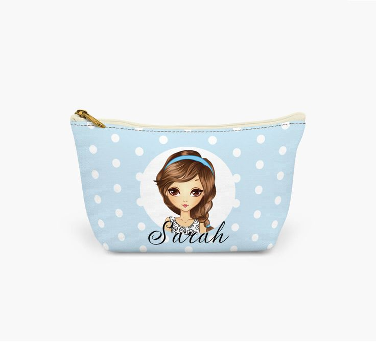 Personalised Make Up Bag.  Find Your Likeness and Add Your Own Name.  Personalised Wash Bag.  Character Make Up Bag by AllAboutYouChicStyle on Etsy