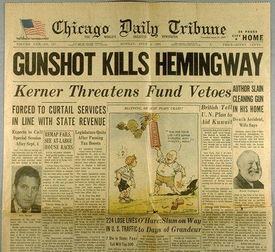 Who Were Ernest Hemingway's Wives   kills hemingway chicago daily tribune 120 july 3 1961 hemingway ...