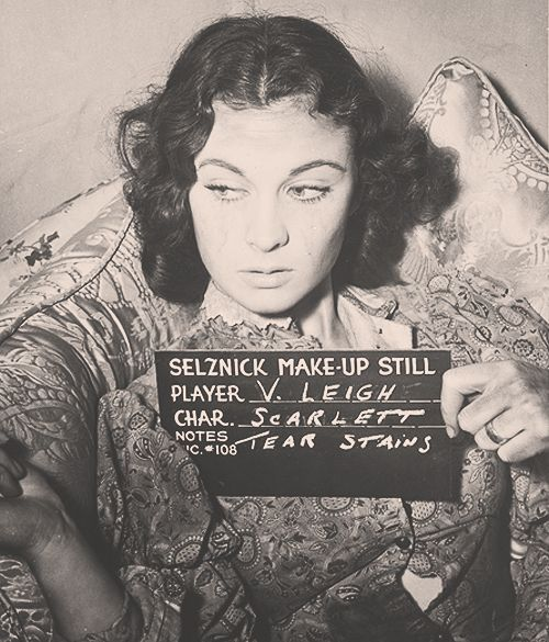 "1939 Vivien Leigh make-up still. On the set of Gone With the Wind as ""Scarlett"". Favorite character of all time!"