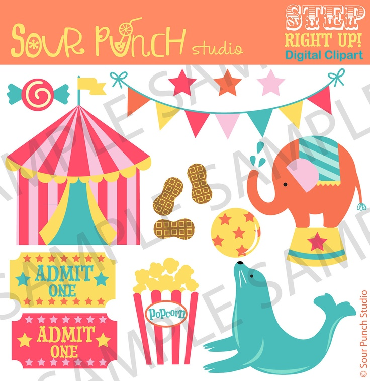 Circus Digital Clip Art Set for Scrapbooking and Crafts, Personal and Small Commercial Use. $5.00, via Etsy.
