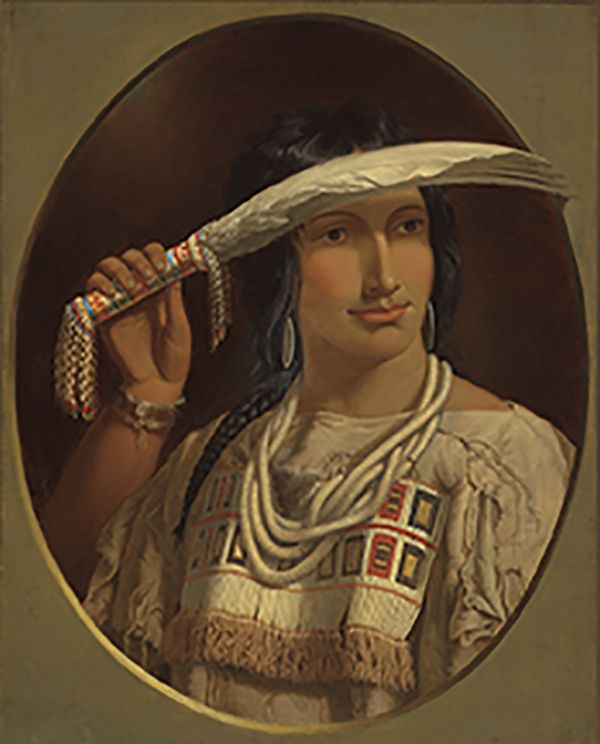"""A portrait of Cunnawa-bum, whose name means """"One That Looks at the Stars."""" Paul Kane, """"Cunnawa-bum,"""" Metis (Plains Cree and British ancestry), c. 1849–56, Royal Ontario Museum."""