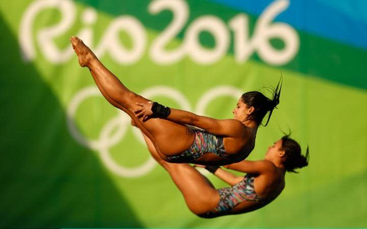 Ingrid Oliveira and Giovanna Pedroso of Brazil compete in the Women's Diving…